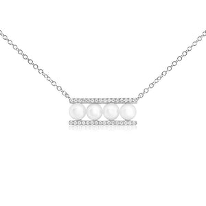 Pearl and Diamond Bar Necklace White Gold