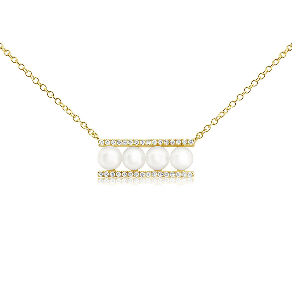 Pearl and Diamond Bar Necklace Yellow Gold