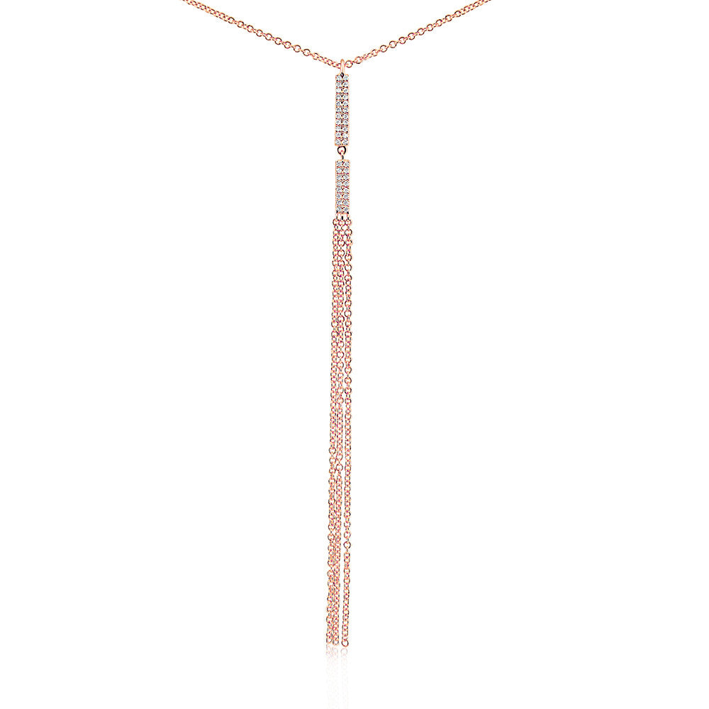 Diamond Vertical Bar Tassel Necklace Rose Gold
