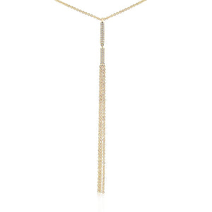 Diamond Vertical Bar Tassel Necklace Yellow Gold