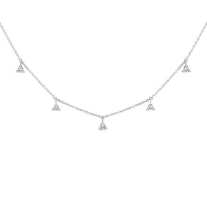 Five Diamond Triangle Necklace White Gold