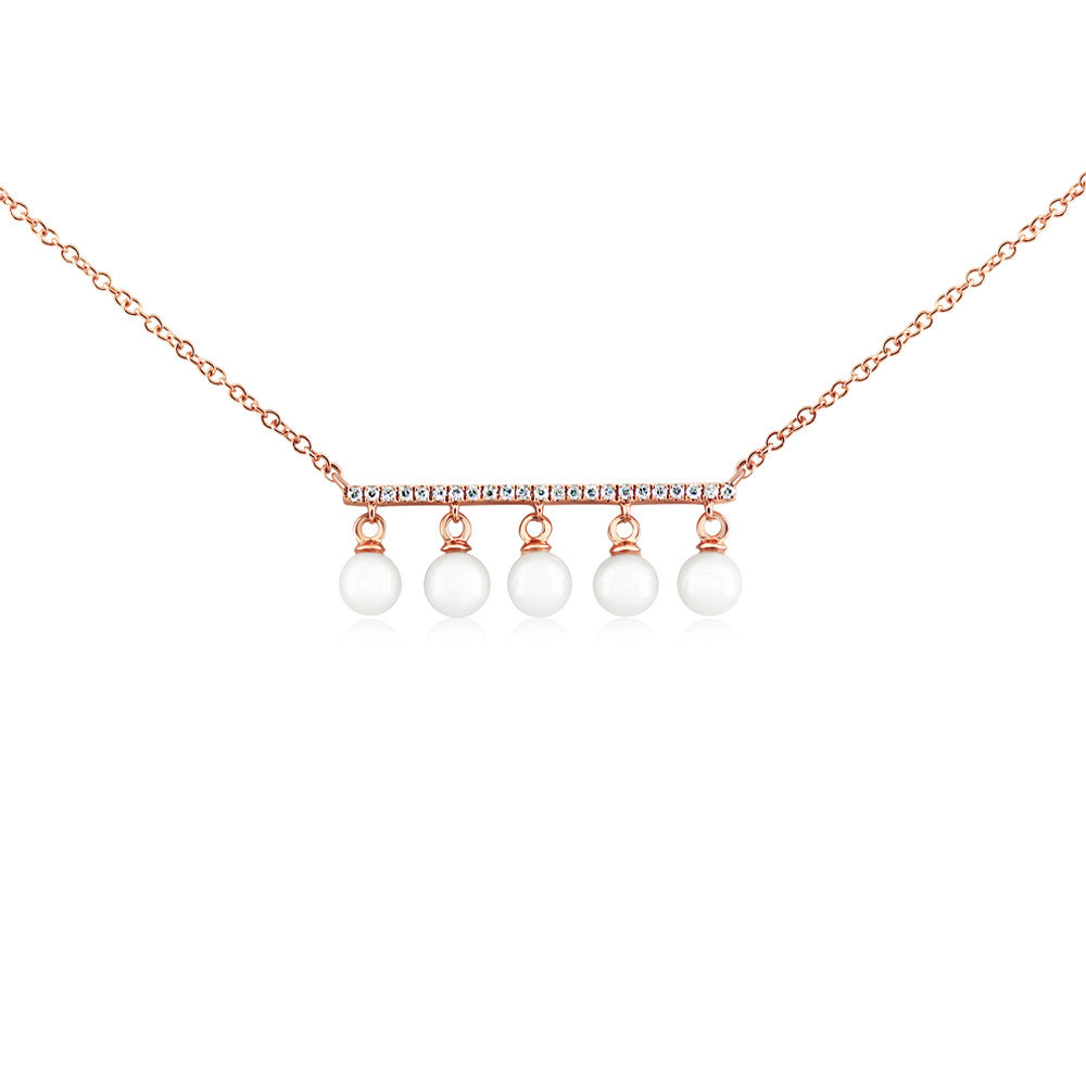 Diamond Bar and Five Pearl Necklace Rose Gold