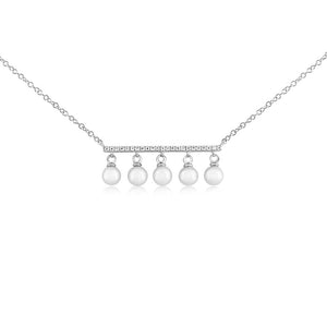 Diamond Bar and Five Pearl Necklace White Gold