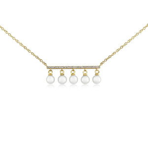 Diamond Bar and Five Pearl Necklace Yellow Gold
