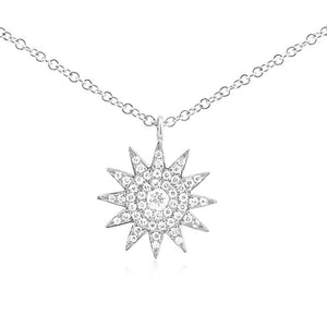 Diamond Starburst Necklace White Gold