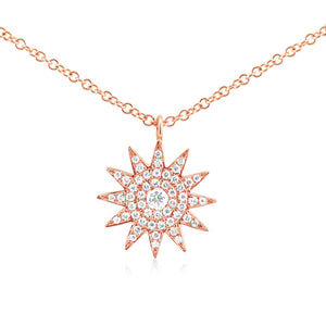 Diamond Starburst Necklace Rose Gold