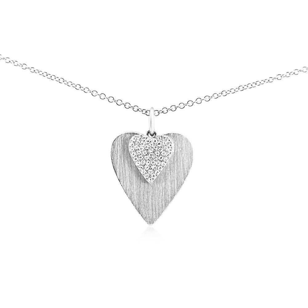 Diamond Double Heart Necklace White Gold