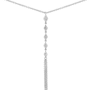 Diamond Rhombi Fringe Lariat Necklace White Gold