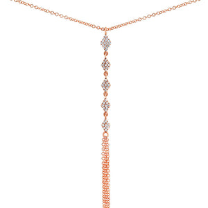 Diamond Rhombi Fringe Lariat Necklace Rose Gold