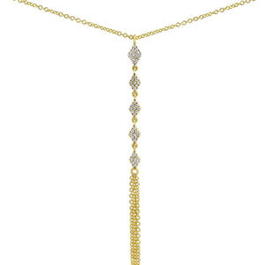 Diamond Rhombi Fringe Lariat Necklace Yellow Gold