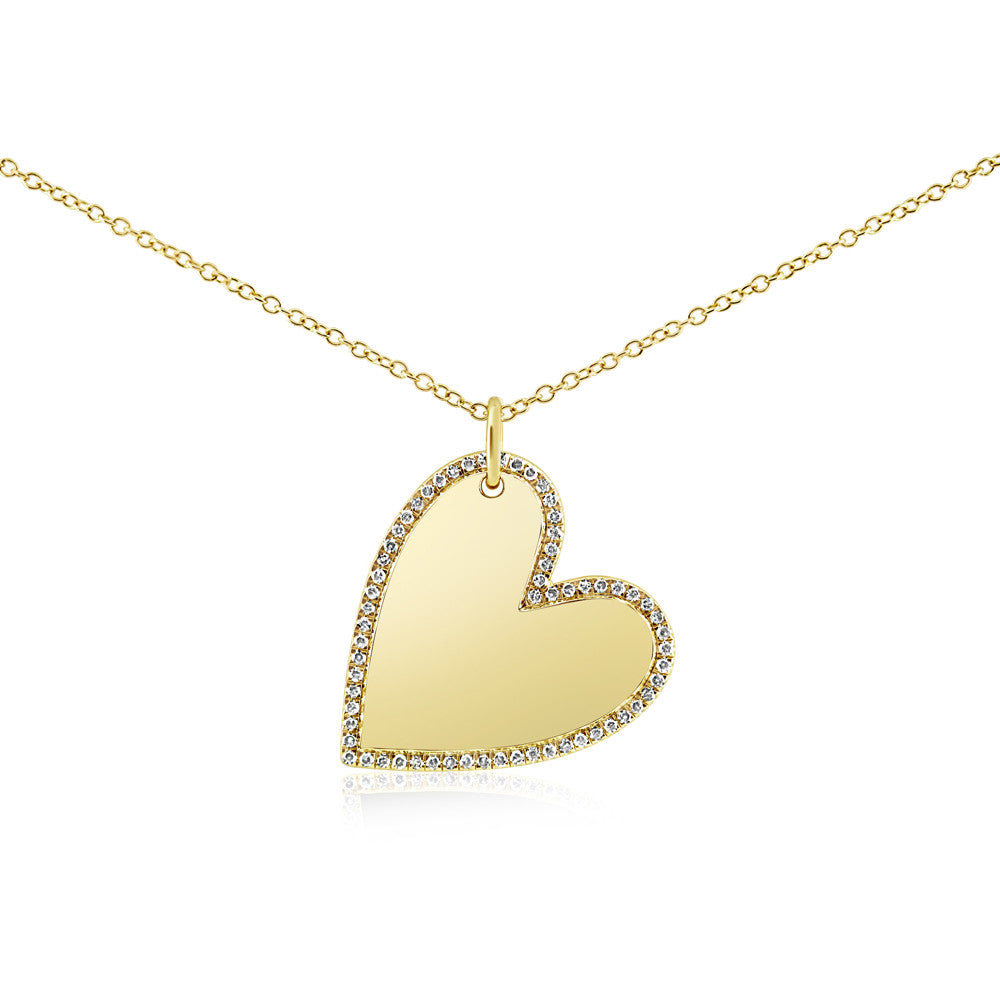 Diamond Halo Heart Necklace Yellow Gold