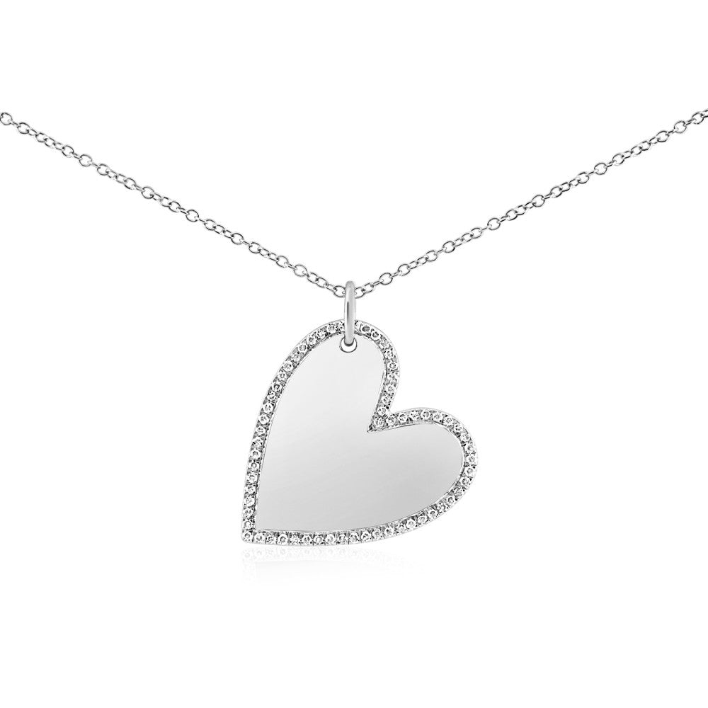Diamond Halo Heart Necklace White Gold