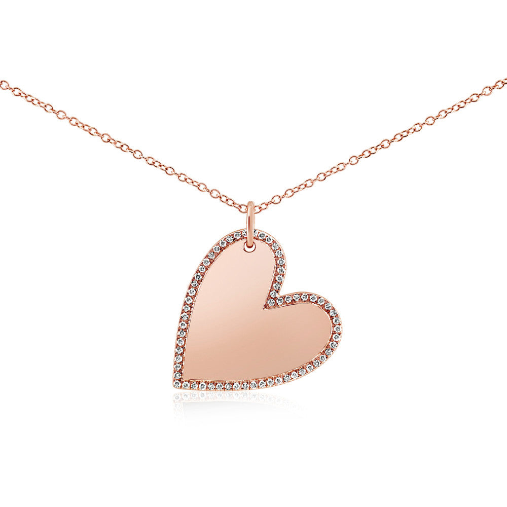 Diamond Halo Heart Necklace Rose Gold
