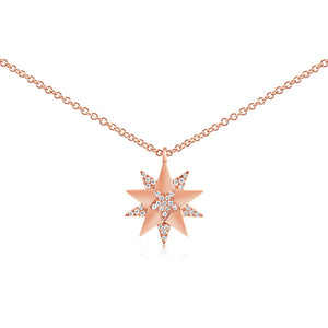Diamond Three Star Necklace Rose Gold