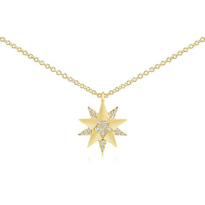 Diamond Three Star Necklace Yellow Gold