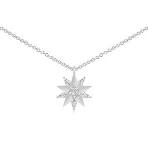 Diamond Three Star Necklace White Gold