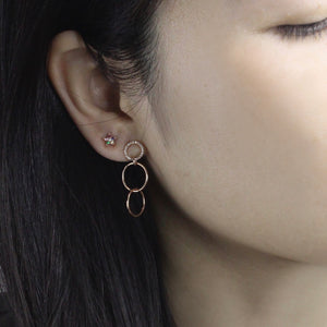 Diamond Three Linked Hoops Earrings Rose Gold