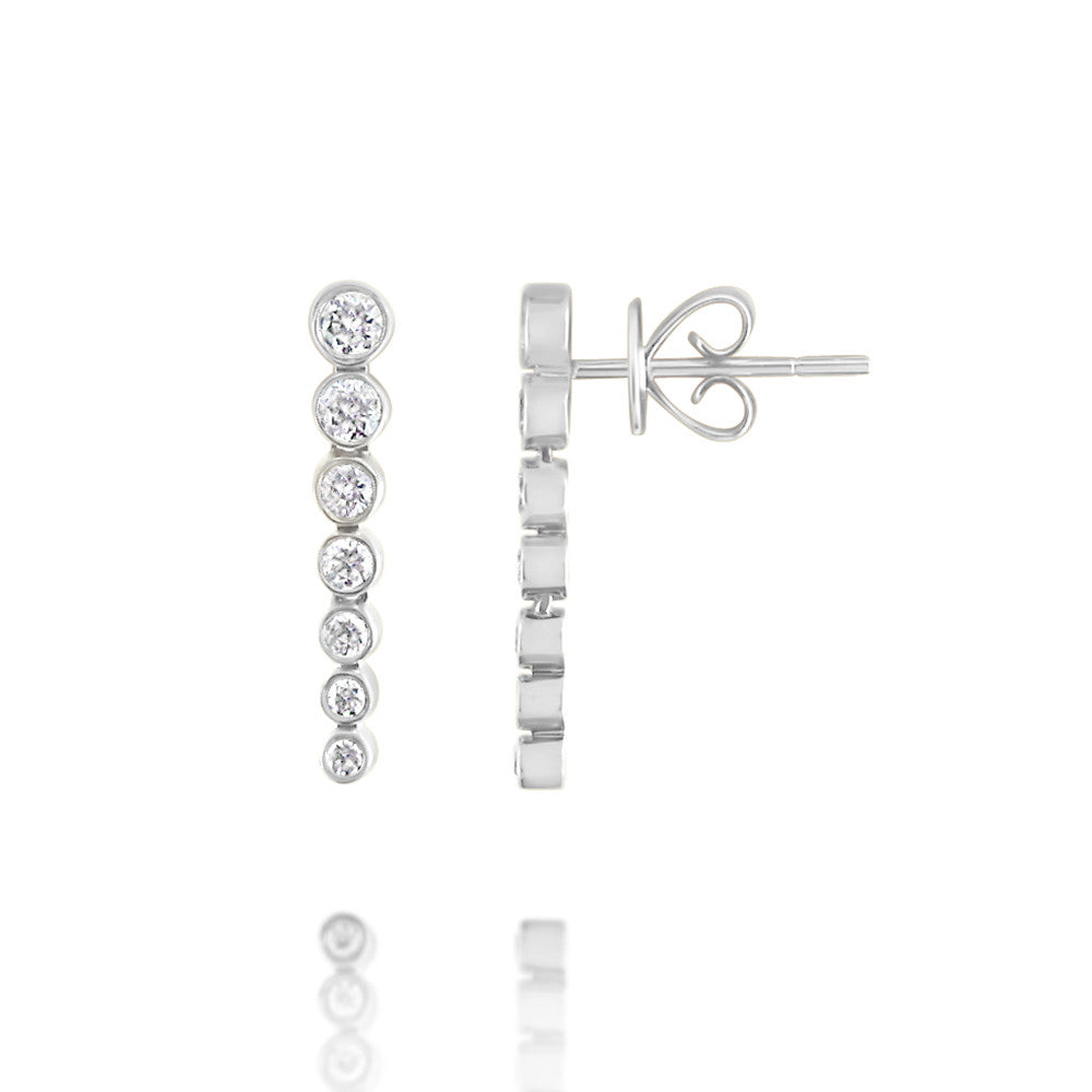 Bezel Set Diamond Drop Earrings White Gold