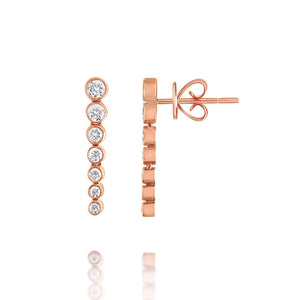 Bezel Set Diamond Drop Earrings Rose Gold