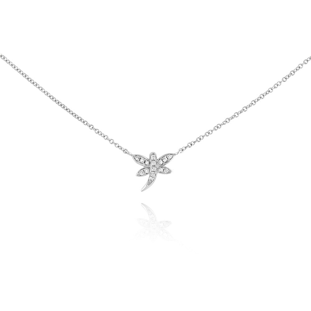 Diamond Dragonfly Necklace White Gold