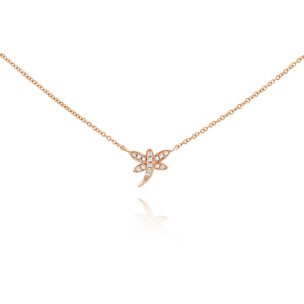 Diamond Dragonfly Necklace Rose Gold