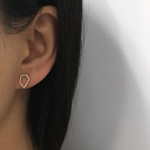 Diamond Pentagon Earrings Yellow Gold