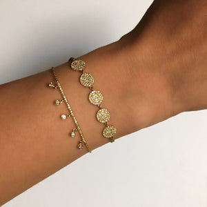 Five Diamond Bar Bracelet Yellow Gold