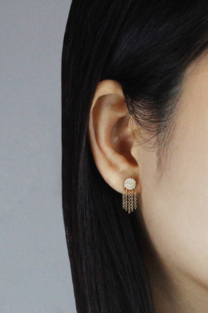 Diamond Disc Fringe Earrings Yellow Gold