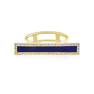 Lapis and Diamond Bar Ring Yellow Gold