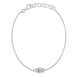 Diamond and Sapphire Hamsa Bracelet White Gold