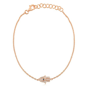 Diamond and Sapphire Hamsa Bracelet Rose Gold