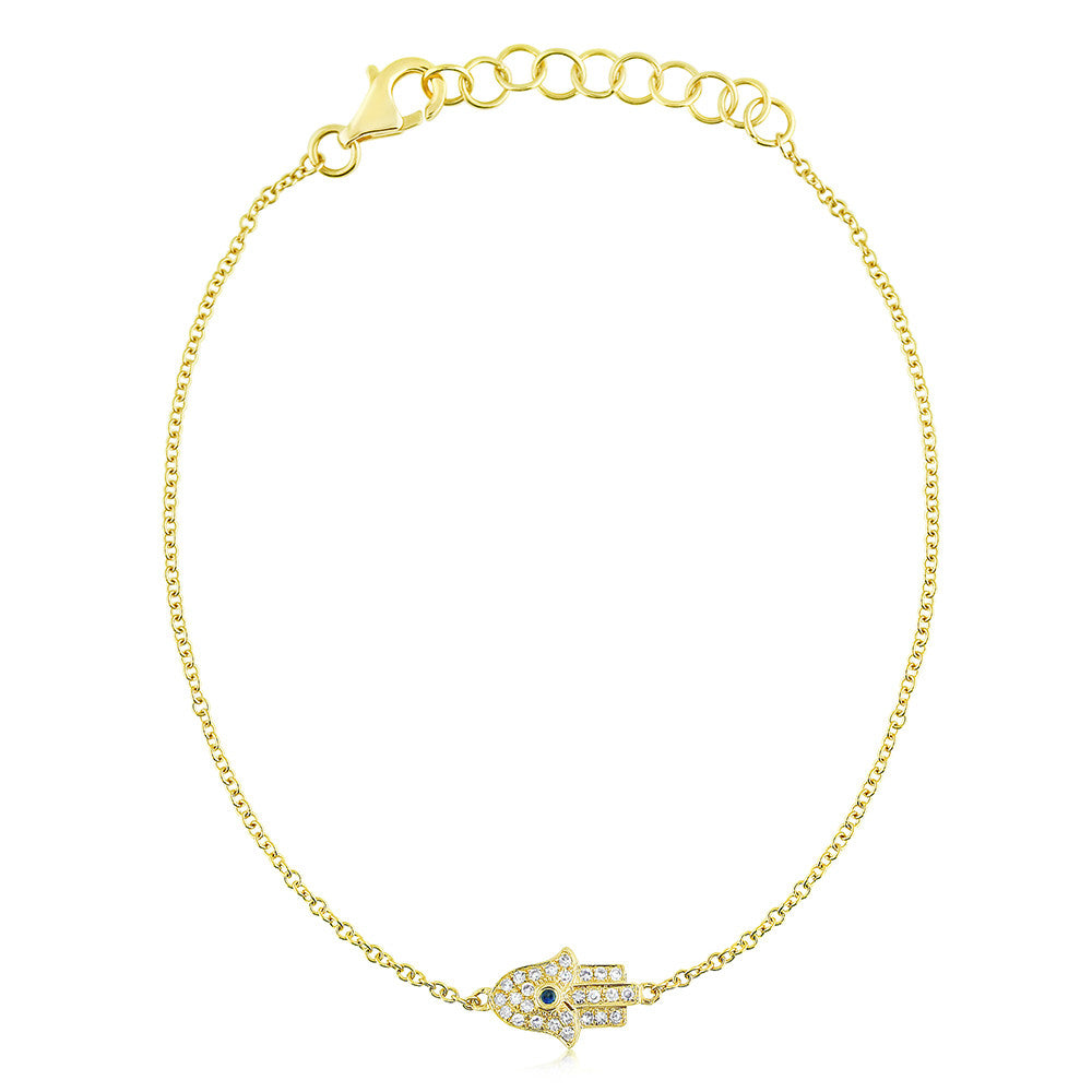 Diamond and Sapphire Hamsa Bracelet Yellow Gold