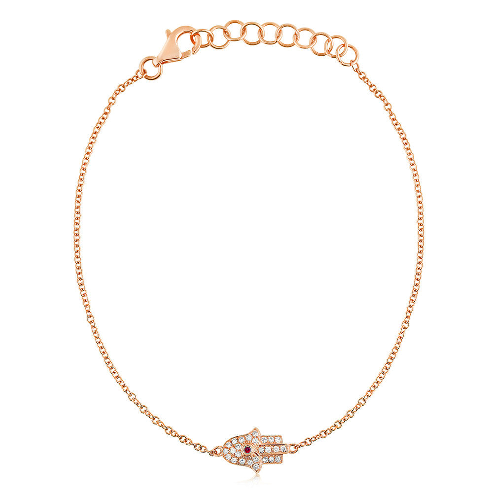Diamond and Ruby Hamsa Bracelet Rose Gold