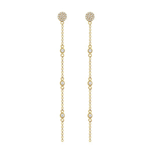Diamond Disc Drop Earrings Yellow Gold