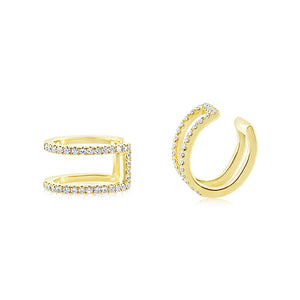 Diamond Double Row Ear Cuff Yellow Gold
