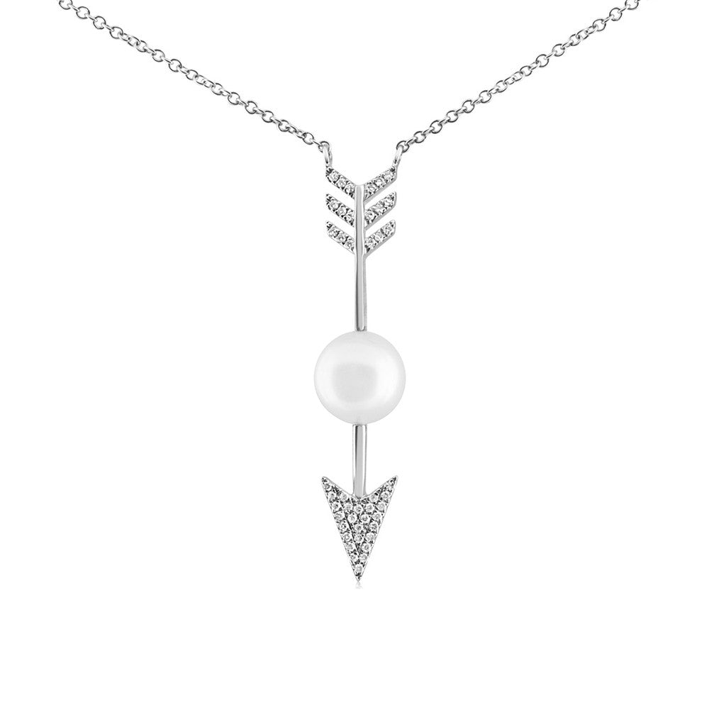Diamond and Pearl Arrow Necklace White Gold