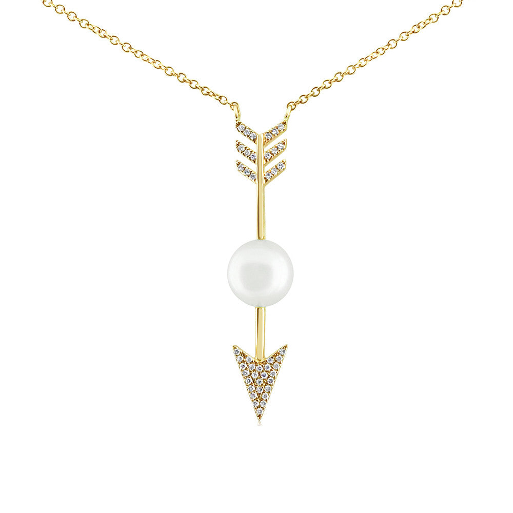 Diamond and Pearl Arrow Necklace Yellow Gold