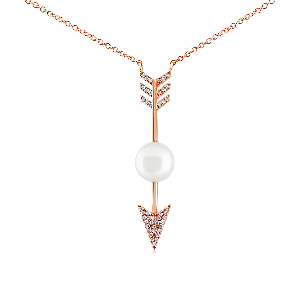 Diamond and Pearl Arrow Necklace Rose Gold