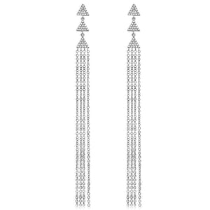 Diamond Triangle Tassel Earrings White Gold