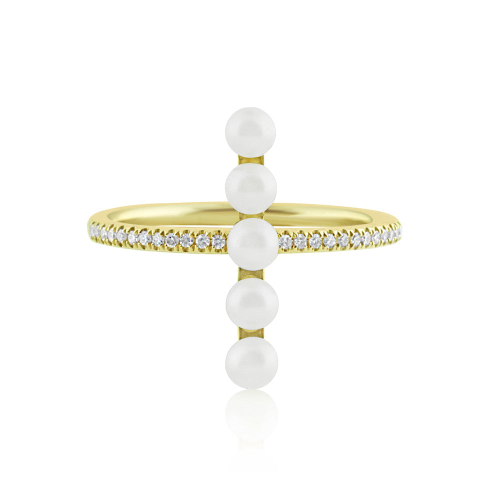 Diamond and Pearl Bar Ring Yellow Gold