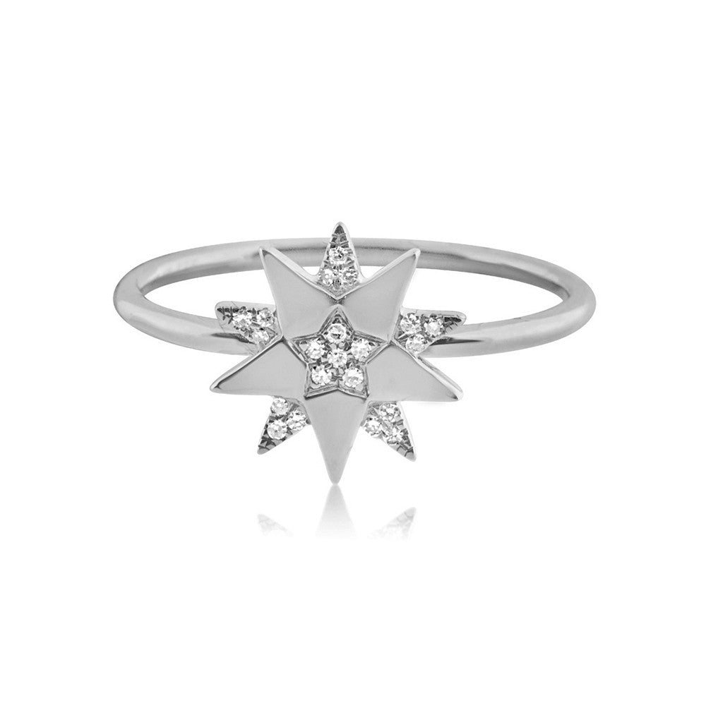 Diamond Three Star Ring White Gold