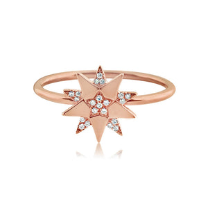 Diamond Three Star Ring Rose Gold