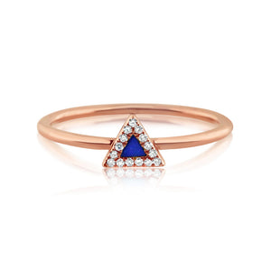 Lapis and Diamond Triangle Ring Rose Gold