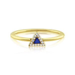 Lapis and Diamond Triangle Ring Yellow Gold