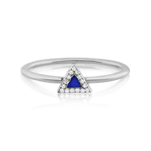 Lapis and Diamond Triangle Ring White Gold