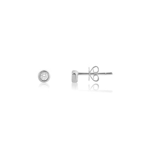 Bezel Set Diamond Stud Earrings White Gold