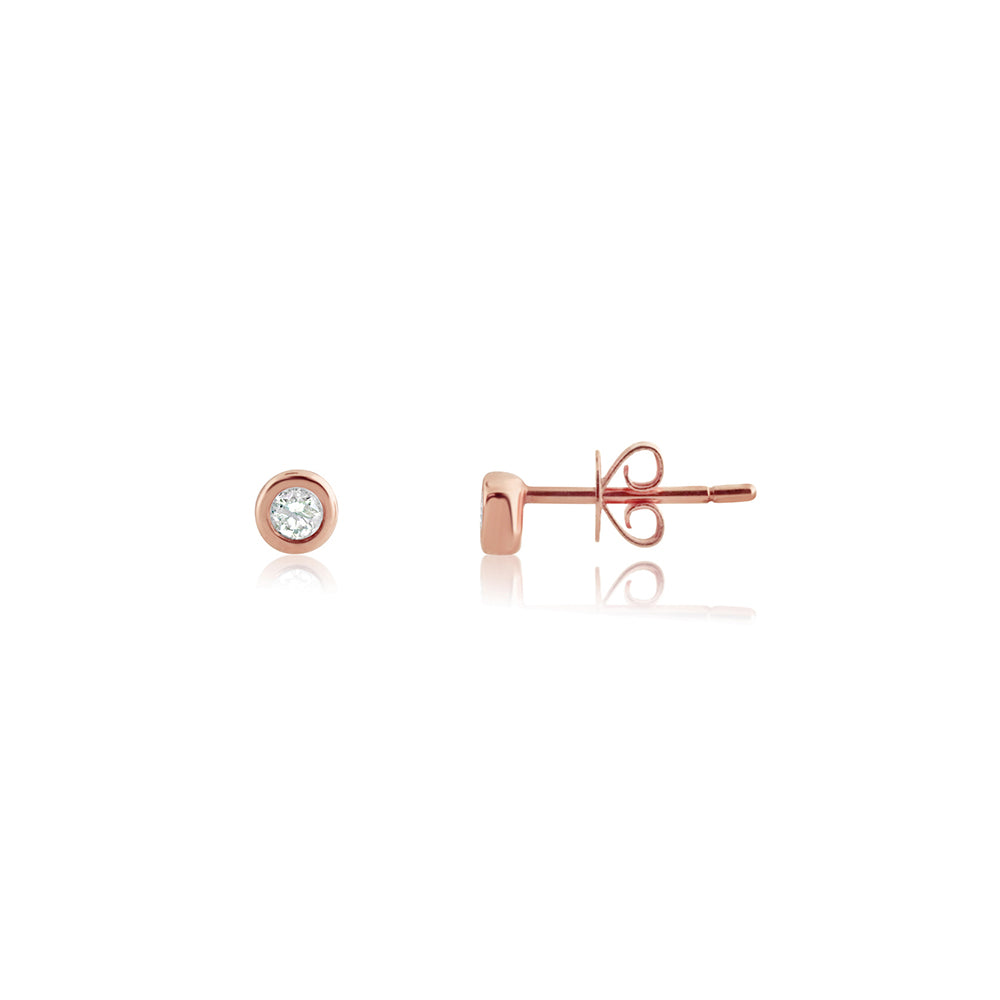 Bezel Set Diamond Stud Earrings Rose Gold