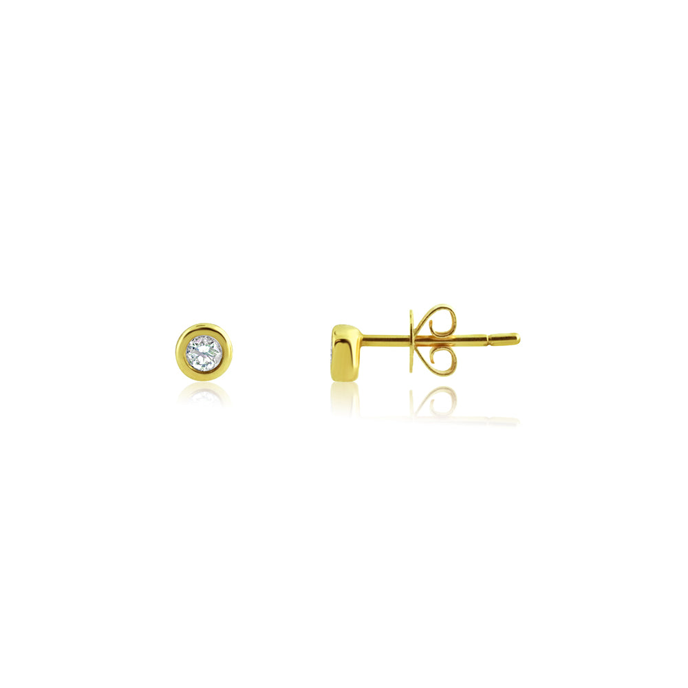 Bezel Set Diamond Stud Earrings Yellow Gold