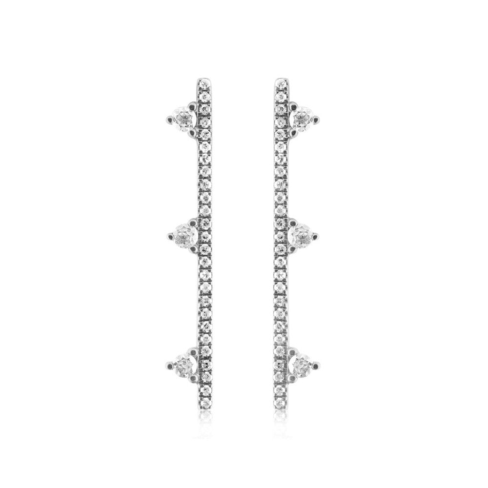 Three Diamond Bar Earrings White Gold