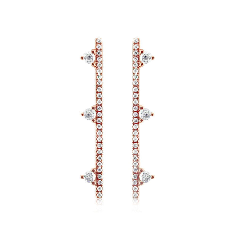 Three Diamond Bar Earrings Rose Gold